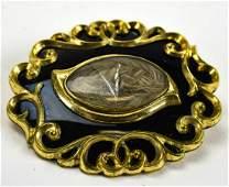 Antique 19th C Black Enamel Hair Mourning Pendant