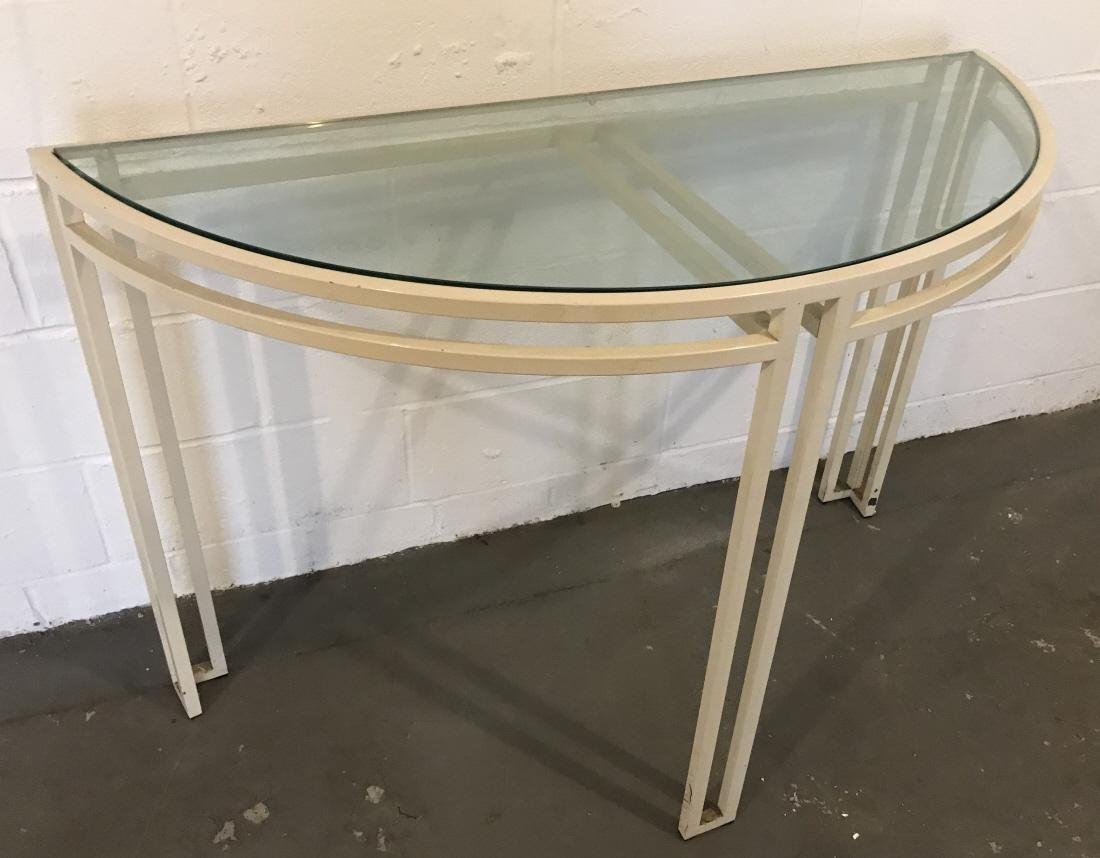 Contemporary Modern Wrought Iron & Glass Console
