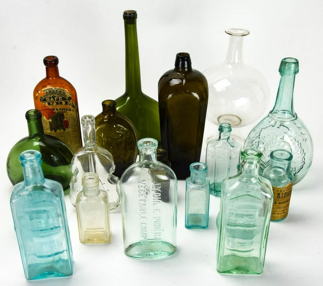 Large Collection of Antique Glass Bottles