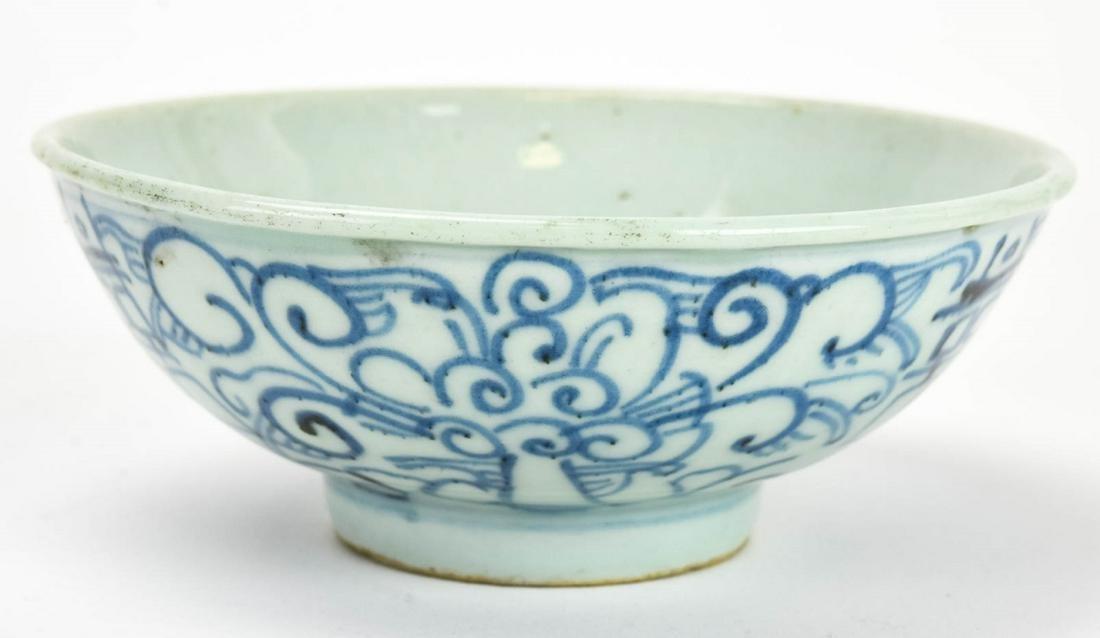 Chinese Blue & White Porcelain Bowl W Wax Seal