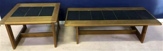 Pair Mid Century Slate Inlaid Coffee  End Tables