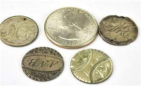 Four Antique 19th C American Love Token Coins
