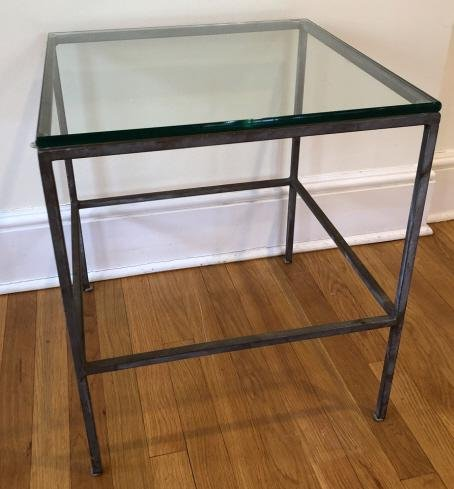 Contemporary Iron & Glass Parson Style Side Table