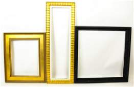 3 Contemporary Gold Tone & Black Picture Frames