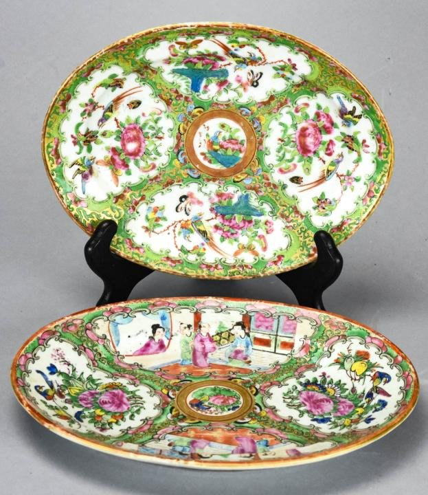 2 Chinese Rose Medallion Porcelain Platters