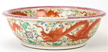 Large Chinese Porcelain 5 Claw Dragon Bowl Signed