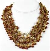 Vintage C 1960s Gilt & Art Glass Necklace