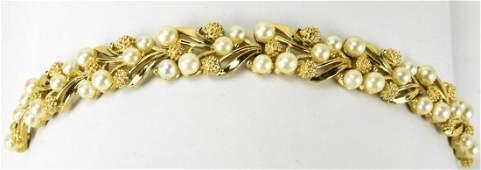 Vintage C 1960s Trifari Gilt & Faux Pearl Bracelet