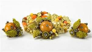 Vintage Miriam Haskell Bracelet  Earring Set