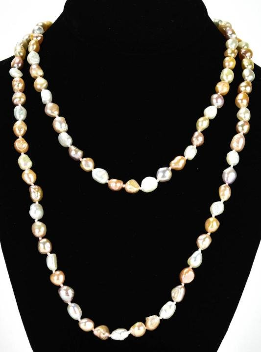 Hand Knotted Multi Color Baroque Pearl Necklace