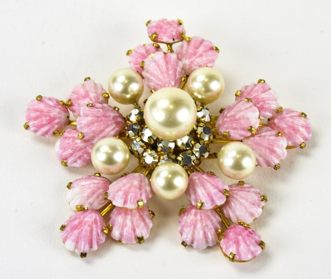 Large Vintage C 1960s French Glass & Pearl Brooch