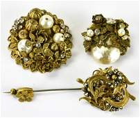Vintage Miriam Haskell Gilt Metal Brooches  Pin