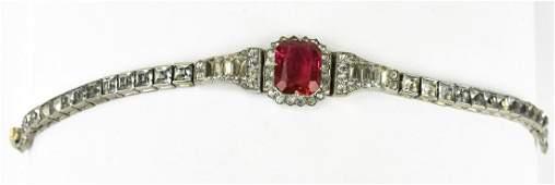 Antique C 1920s Art Deco Ruby Paste Bracelet