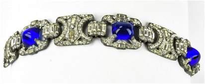 Antique C 1920s Sapphire Paste Rhinestone Bracelet