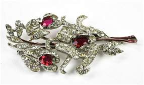 Vintage Trifari Ruby Paste & Rhinestone Brooch