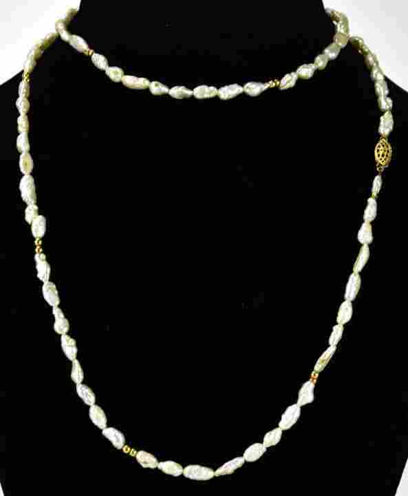 Vintage 14k Gold Beads Baroque Seed Pearl Necklace