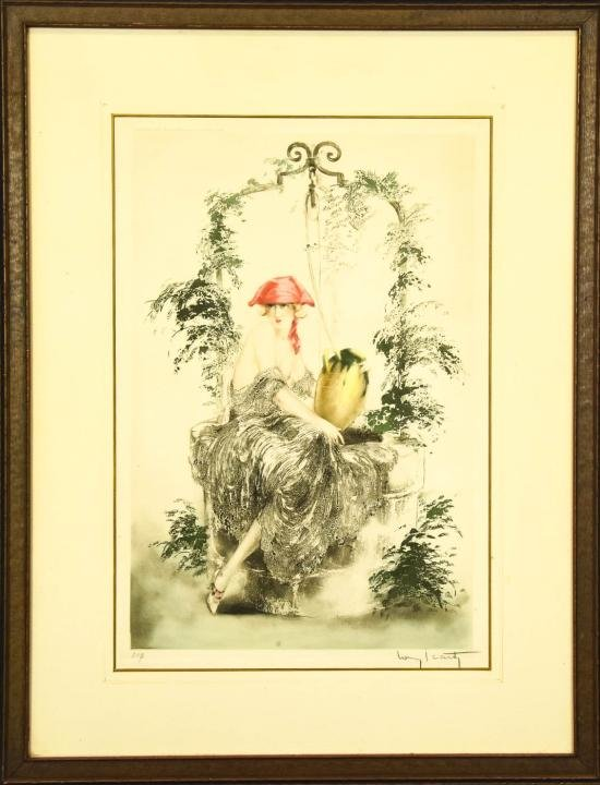 Antique Pencil Signed Louis Icart French Litho