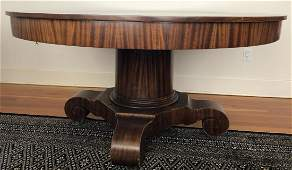 American Empire Split Pedestal Round Dining Table