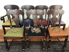 7 Antique Urn Form Needlepoint Covered Chairs