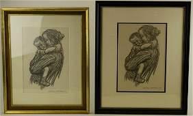 2 Kathe Kollwitz Drawing Prints of Mother  Child