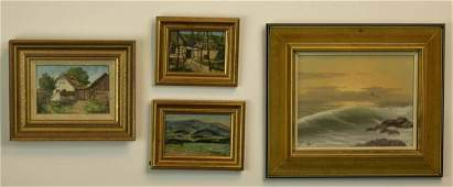 Four Czech Mid Century Oil Paintings, Signed