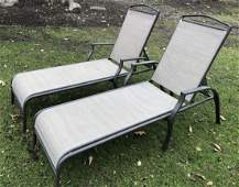 Pair Cast  Aluminum & Sling Outdoor Lounge Chairs