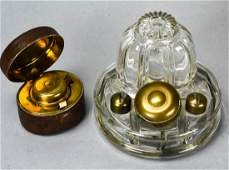 2 Antique Glass Brass & Leather Ink Wells