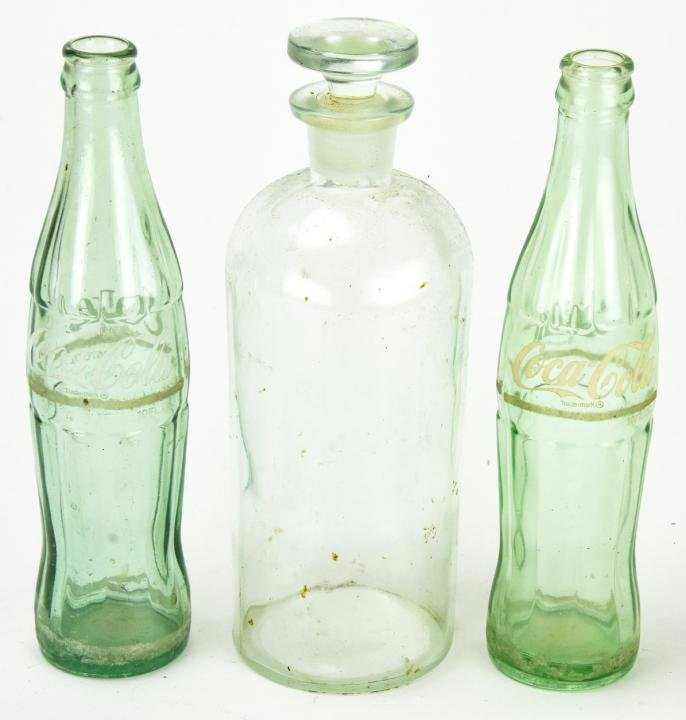 Large Antique Apothecary & Two Coca Cola Bottles