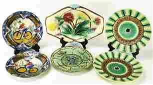 Collection Antique Majolica Pottery Plates