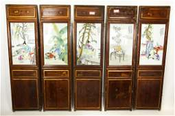 5 Antique Chinese Wood & Porcelain Plaques Signed