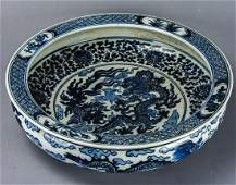 Chinese Blue & White Porcelain 5 Claw Dragon Bowl