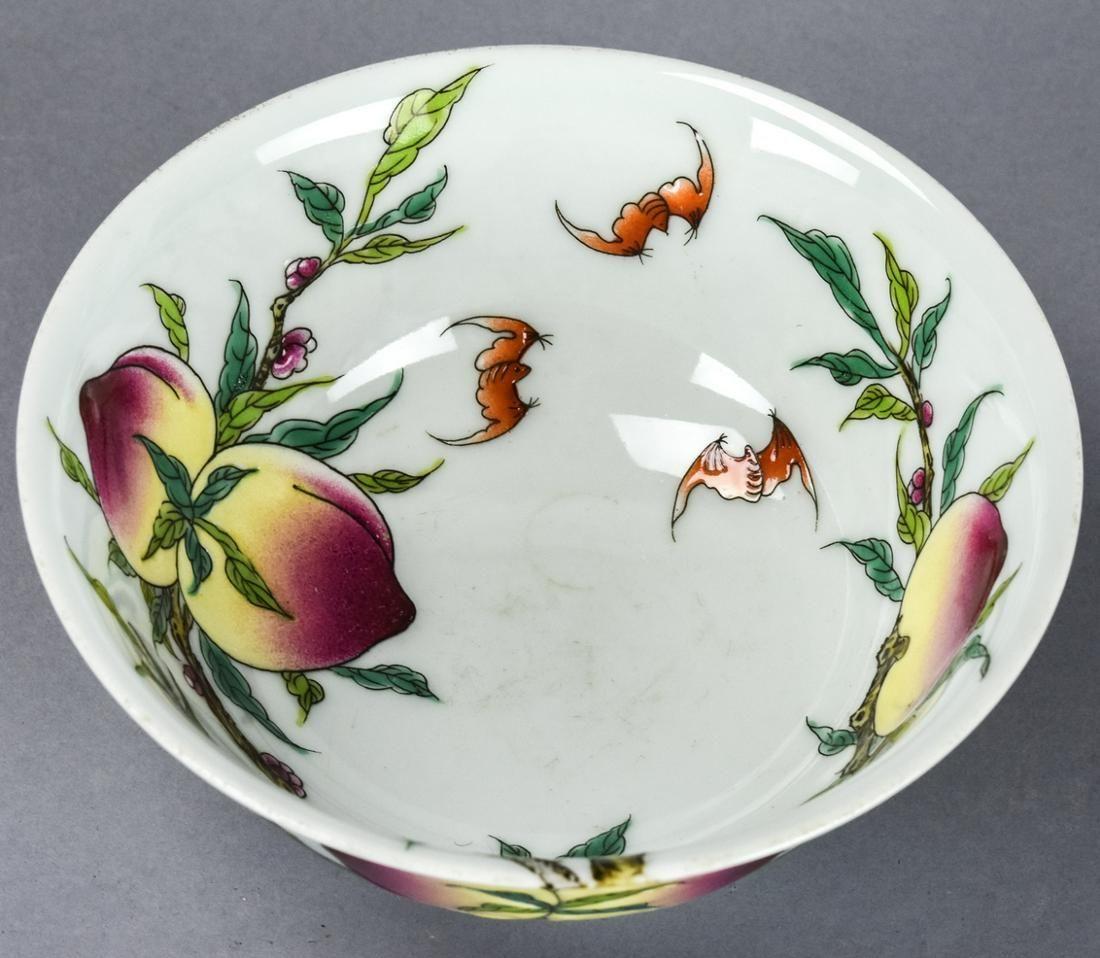 Chinese 9 Peach & Bat Porcelain Bowl Signed