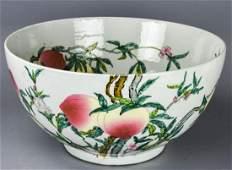 Large Chinese 9 Peach & Bat Motif Bowl Signed