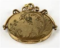 Antique 19th C Gold Filled Locket Necklace Pendant