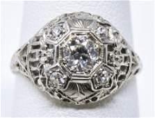Estate 18kt White Gold & .45 Carat Diamond Ring