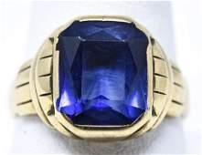 Estate Art Deco 10kt Yellow Gold  Sapphire Ring