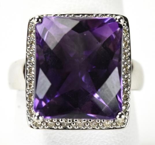 14K White Gold Amethyst & Diamond Cocktail Ring