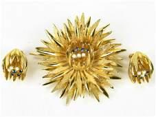 Vintage C 1970s Brooch  Earring Jewelry Set