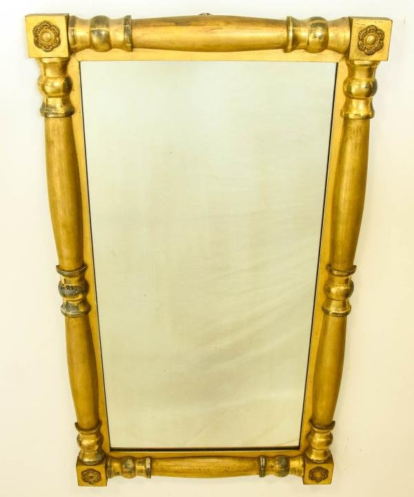 Antique 19th C American Empire Style Gilt Mirror