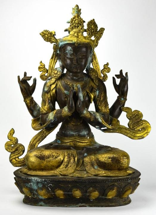 Large Chinese Gilt Bronze Buddha Statue