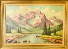 Mid Century Signed Landscape Scene Oil Painting