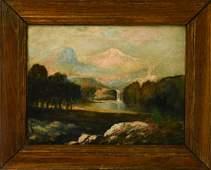 Antique Landscape Scene Oil Painting