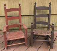 Two Antique 19th C American Child's Rocking Chairs