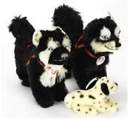 3 Steiff Mohair Stuffed Animal Dogs