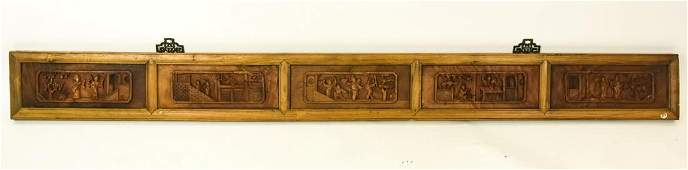 Chinese Hand Carved Wooden Panel