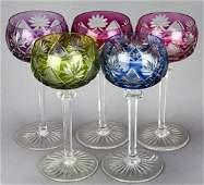 5 Val Saint Lambert Bohemian Crystal Goblets