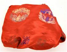 Chinese Hand Embroidered Red Silk Textile Bolt