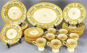 Vietri Italy Hand Painted Stone Ware Plate Service