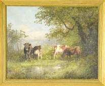 Oil Painting of a Pastoral Landscape Scene