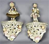 Pair Porcelain Wall Brackets W Figural Children